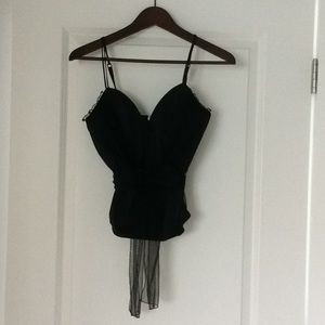 Black Bustier With Beading and Tulle